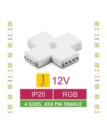 Whitenergy Złączka do taśm LED krzyżyk Whitenerg ,RGB, czterostronna  4x 4pin żeński (1szt)