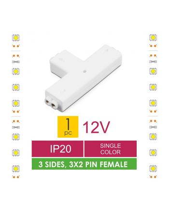 Whitenergy Złączka do taśm LED Whitenerg , trójstronna  3x 2 pin żeński (1szt)