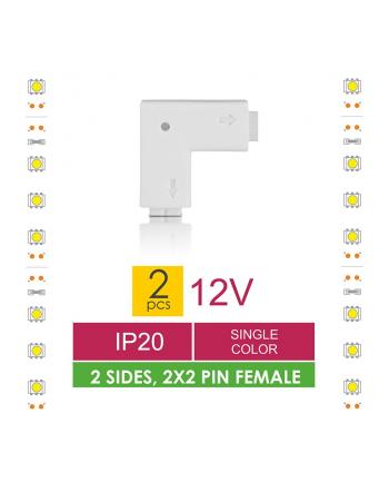 Whitenergy Złączka do taśm LED Whitenerg , dwustronna  2x 2 pin żeński (2szt)