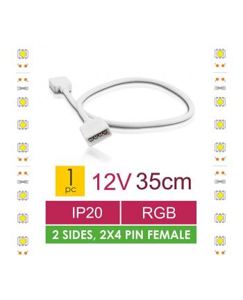 Whitenergy Złączka do taśm LED z kablem Whitenerg,RGB, 2x 4pin żeński 35cm (1szt)
