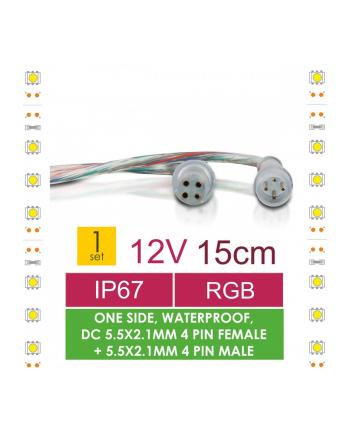 Whitenergy Złączka do taśm LED z kablem Whitenerg, DC 5.5x2.1.1mm żeński+męski