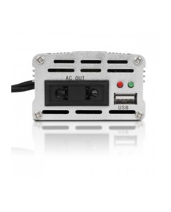 Whitenergy Przetwornica DC/AC 24V (samochód) na 230V, 150W mocy złącze USB