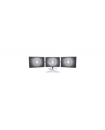 RaidSonic IcyBox Metalowy Uchwyt na trzy monitory (do 24''), podstawa wolnostojąca, Srebny