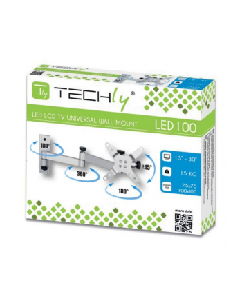Techly Uchwyt ścienny do TV LCD/LED/PDP dwuprzegubowy 13-30'' 15 kg VESA srebrny