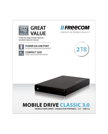 Freecom Dysk Zewnętrzny Mobile Drive Classic, 2TB HDD, USB 3.0, Czarny