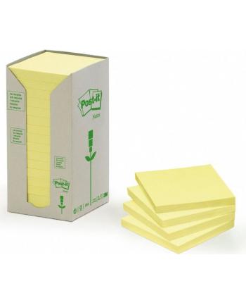 3M-POST-IT Bloczek samop. ekologiczny POST-IT® (654-1T), 76x76mm, 16x100 kart., żółty