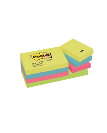 3M-POST-IT Bloczek samop. POST-IT® (653-TFEN), 38x51mm, 12x100 kart., paleta energetyczna
