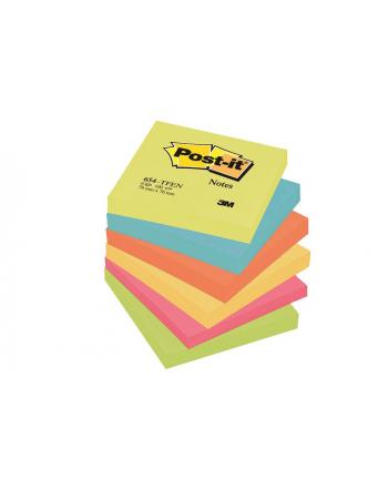 3M-POST-IT Bloczek samop. POST-IT® (654-TFEN), 76x76mm, 6x100 kart., paleta energetyczna
