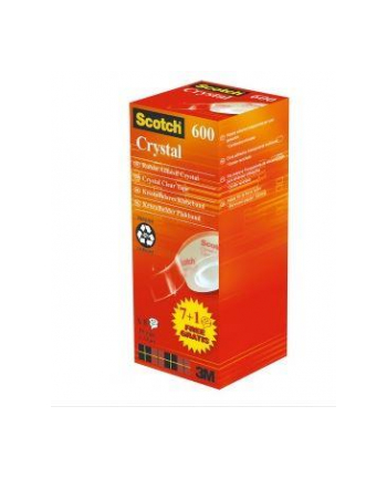 3M-SCOTCH Taśma biurowa SCOTCH® Crystal (6-1933R8), 19mm, 33m, 7szt., 1 rolka GRATIS