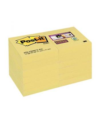 3M-POST-IT 62212SSCYEU Bloczek samoprzylepny Postit® Super Sticky, żółty, 12 sztuk po 90 ka