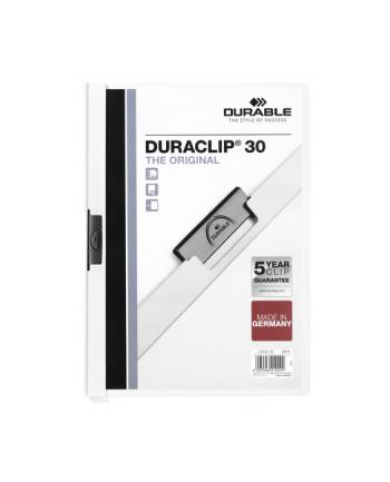 DURABLE Skoroszyt zaciskowy DURACLIP A4, 1-30 kartek biały
