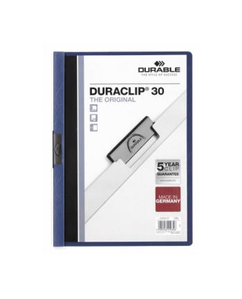 DURABLE Skoroszyt zaciskowy DURACLIP A4, 1-30 kartek granatowy