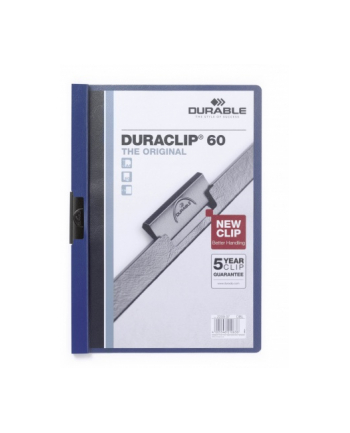 DURABLE Skoroszyt zaciskowy DURACLIP A4, 1-60 kartek granatowy