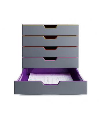 DURABLE VARICOLOR pojemnik z pięcioma kolorowymi szufladkami. Wymiary: 280x292x356 mm (W
