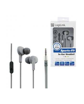 LOGILINK - Słuchawki douszne z mikrofonem ''Sports-Fit'', ochrona IPX6, szare