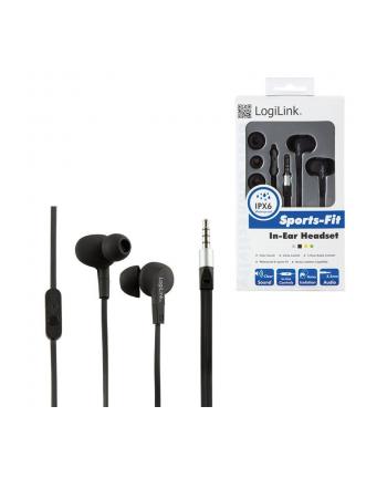 LOGILINK - Słuchawki douszne z mikrofonem ''Sports-Fit'', ochrona IPX6, czarne