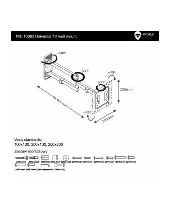 4World Uchwyt do LCD 15-37'' VESA 75/100/200 uchylny/obrotowy  max 40kg BLK