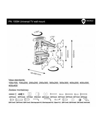 4World Uchwyt do LCD 32-50'' VESA 400 uchylny/obrotowy  max 50kg BLK