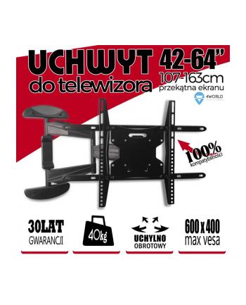 4World Uchwyt do LCD 42-64'' VESA 400 uchylny/obrotowy  max 40kg BLK