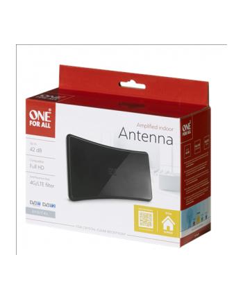 One For All OFA Antena wewnętrzna ze wzmacnieniem sygnału 42dB, dbiór dookólny, Czarna