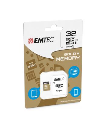 Emtec karta pamięci microSDHC 32GB Class 10 Gold+ (85MB/s, 21MB/s)