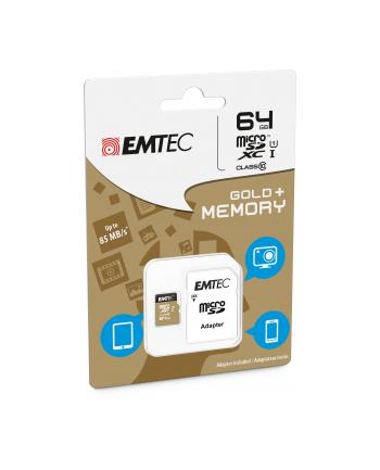 Emtec karta pamięci microSDXC 64GB Class 10 Gold+ (85MB/s, 21MB/s)