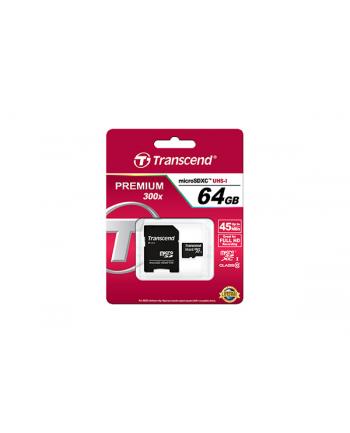 Karta pamięci Transcend microSDXC 64GB Class 10, UHS1 + Adapter (SD 3.0)