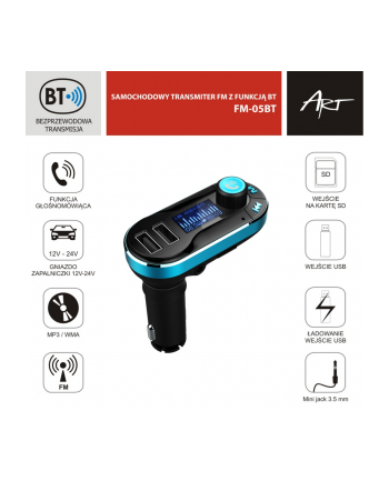 Transmiter FM MP3 z funkcją BT, pilot USB/SD FM-05BT