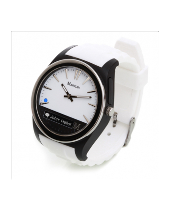 Martian Notifier Smartwatch and white sillicone band
