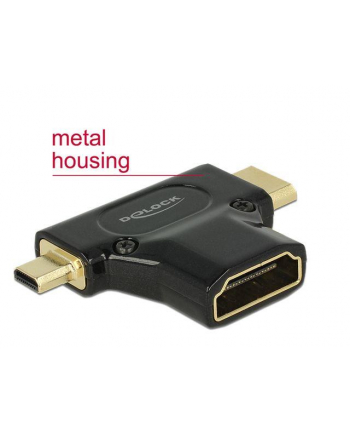 Delock adapter HDMI mini-C(M) + HDMI Micro-D(M)->HDMI(F) 4k High Speed Ethernet