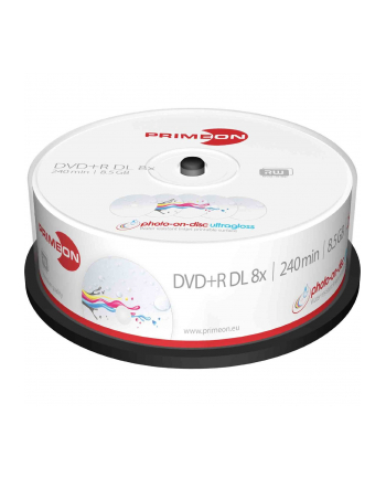 PRIMEON DVD+R DL 8,5 GB 8x Photo Ultragloss, DVD - 25 sztuk