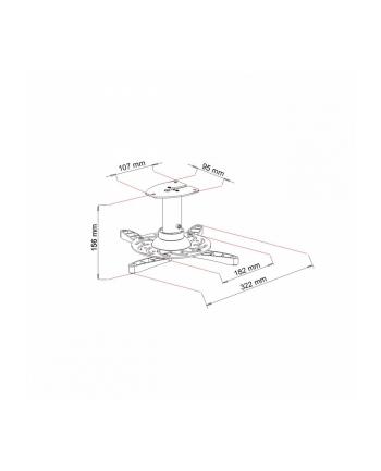 Art uchwyt podwieszany 16cm do projektora max. 15kg  P-101B-AL
