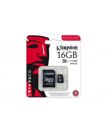 Kingston karta 16GB microSDHC UHS-I Class 10 Industrial Temp Card + SD Adapter