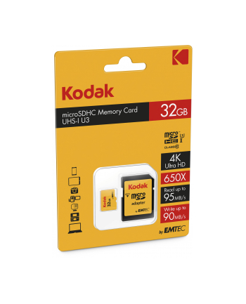 Kodak memory card 32GB SDHC Class 10 UHS-I U3 95/90MB/s+adapter