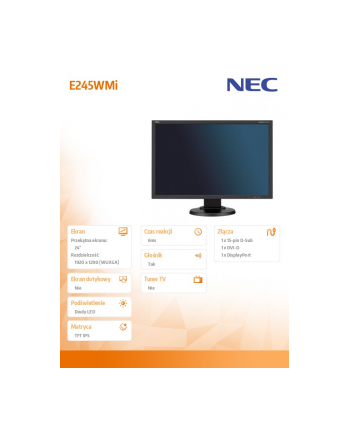 Monitor NEC E245WMi 24inch, IPS, DP/DVI/D-Sub, głośniki, czarny