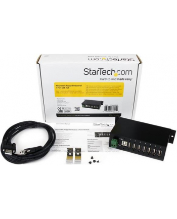 7 PORT RUGGED USB HUB StarTech.com Industrieller montierbarer 7 Port USB 2.0 Hub - Schwarz