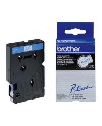 Brother TC-203 12mm niebieski/biały