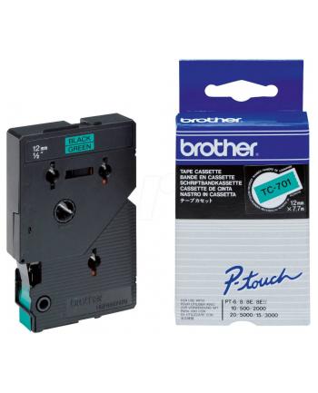 Brother TC-701 12mm czarny na zielonym