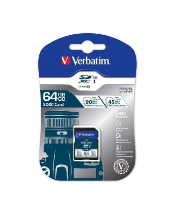 Verbatim Pro U3 SDXC 64GB, UHS-I U3/Class 10 (47022)