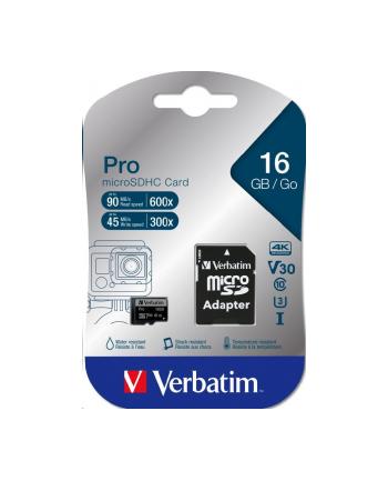 Verbatim Pro U3 microSDHC 16GB Kit, UHS-I U3/Class 10 (47040)