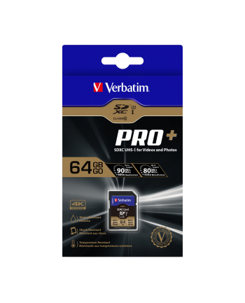Verbatim Pro+ U3 SDXC 64GB, UHS-I U3/Class 10 (49197)