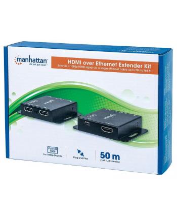 Manhattan Extender HDMI po skrętce Cat6/6a/7 1080p do 50m z czujnikiem IR PoE