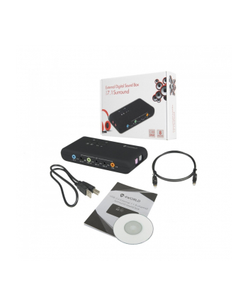 4world Zewnętrzna Karta Dźwiękowa 7.1 USB 8-kanałów