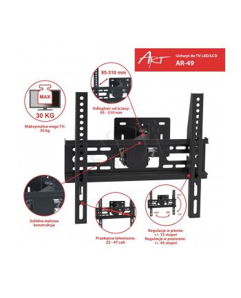 ART Uchwyt do LCD/LED 22-47' 30KG AR-49 regulowany wpionie i poziomie