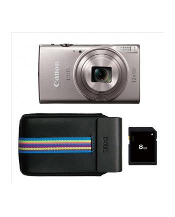 Canon Digital IXUS 285 Essentials Kit SL, 20.2 Mpixel BSI-CMOS/ DIGIC 4+/ 12x optical zoom/ Closest focusing distance 1cm from front of lens macro/ Intelligent IS/ ISO 3200/ 3.0'' LCD/ Full HD 1920x1080/ High-speed shooting/ Supports SD/SDHC/SDXC