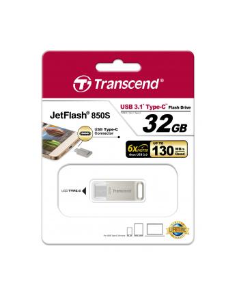 TRANSCEND USB Flash Disk JetFlash®850S OTG, 32GB, USB 3.1 Type-C, Silver (R/W 130/30 MB/s)