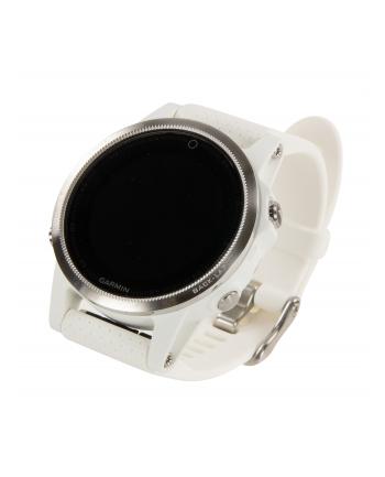 MIO Garmin GPS zegarek sportowy fenix5S srebrny, biały pasek