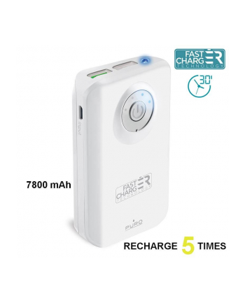 PURO External Fast Power Bank 7800 mAh white