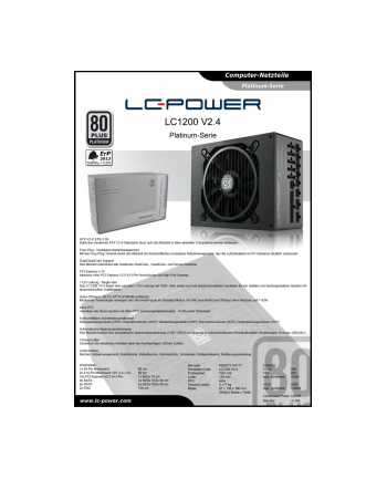 LC POWER Zasilacz LC-POWER 1200W LC1200 V2.4 135mm 10xPCI-E 9xSATA 80+PLATINUM