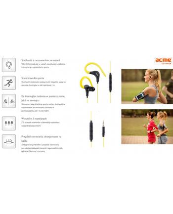 ACME EUROPE Słuchawki sportowe douszne z mikrofonem ACME HE17 ze strowaniem na kablu